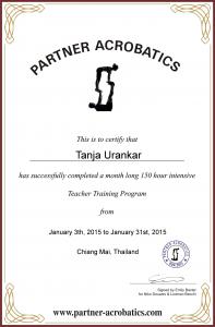 Tanja Urankar certificate